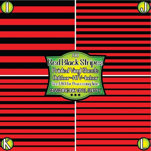 Red Black Stripes - Pattern Vinyl (SHIPS IN 3 BUS DAYS)