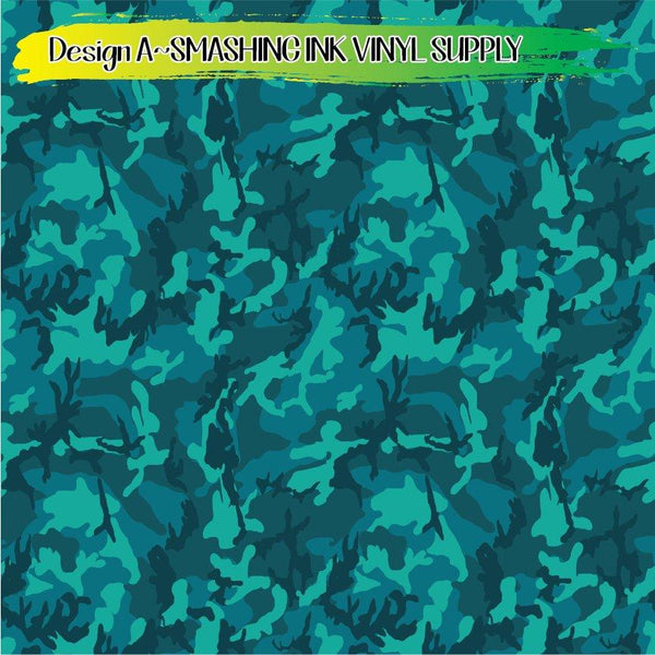 Teal Camo - Pattern Vinyl (READY IN 3 BUS DAYS)