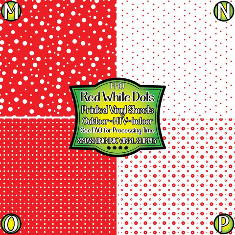 Red white polka dot - Pattern Vinyl (SHIPS IN 3 BUS DAYS)