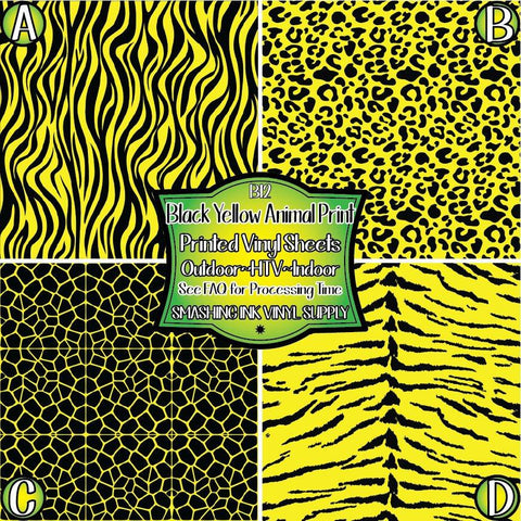 Yellow Black Animal Print - Patterned Vinyl Done Printed