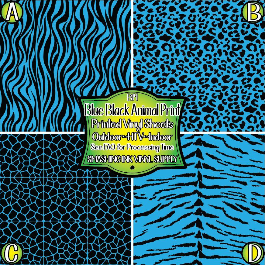 Blue Black Animal Print - Pattern Vinyl (SHIPS IN 3 BUS DAYS)