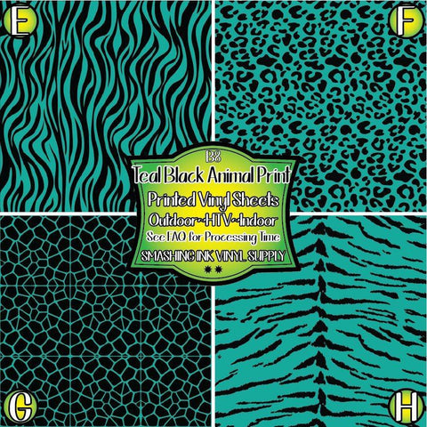 Teal Black Animal Print - Patterned Vinyl Done Printed