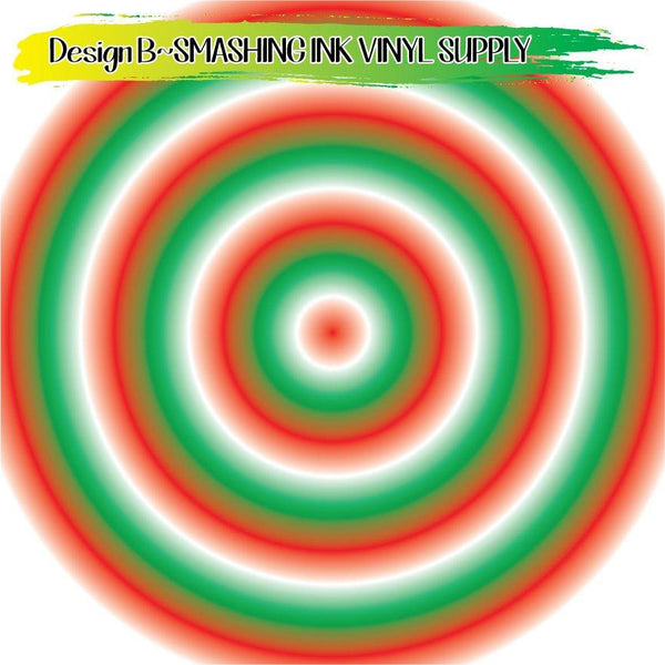Red White Green Ombre - Pattern Vinyl (SHIPS IN 3 BUS DAYS)