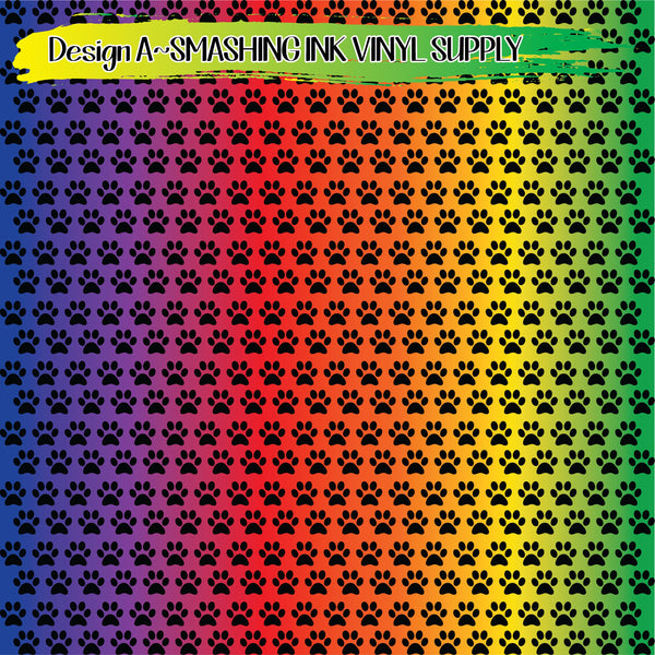 Colorful Paw Print - Pattern Vinyl (SHIPS IN 3 BUS DAYS)