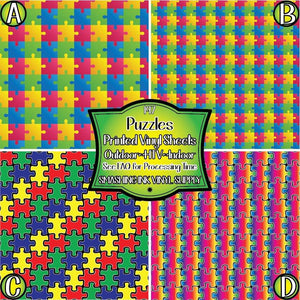 Puzzle Piece Autism - Pattern Vinyl (MTO-3 BUS DAYS)