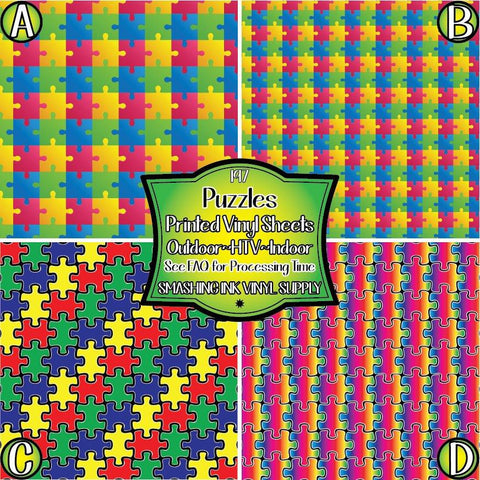 Puzzle Piece Autism - Pattern Vinyl (SHIPS IN 3 BUS DAYS)