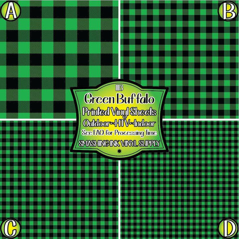 Green Buffalo Plaid - Pattern Vinyl (SHIPS IN 3 BUS DAYS)