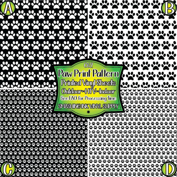Paw Print - Pattern Vinyl (READY IN 3 BUS DAYS)