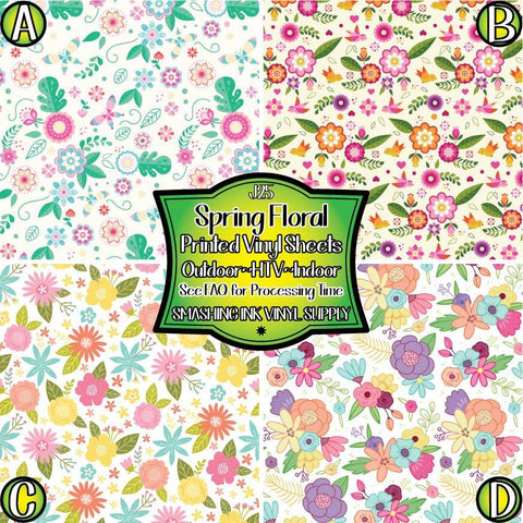 Spring Flowers - Patterned Vinyl Done Printed