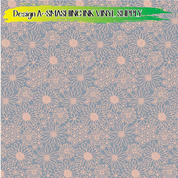 Hand Drawn Daisy - Pattern Vinyl (READY IN 3 BUS DAYS)