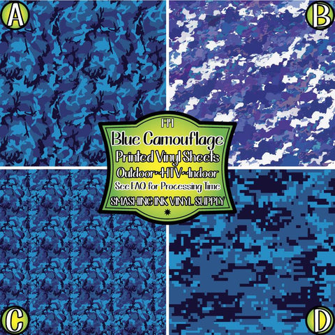 Blue Camo Print - Pattern Vinyl (SHIPS IN 3 BUS DAYS)