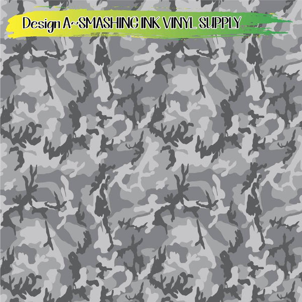 Grey Camo Print - Pattern Vinyl (READY IN 3 BUS DAYS)