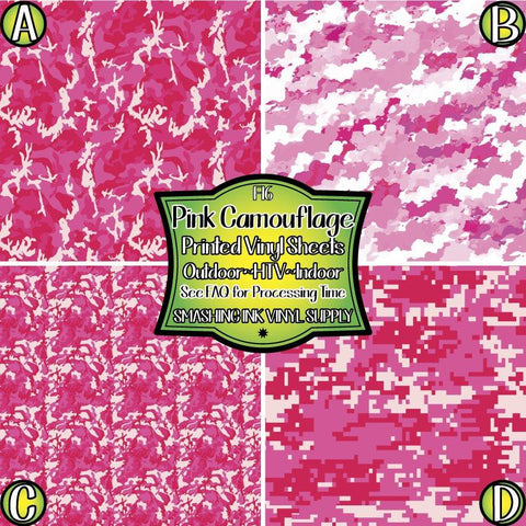 Pink Camo Print - Patterned Vinyl Done Printed