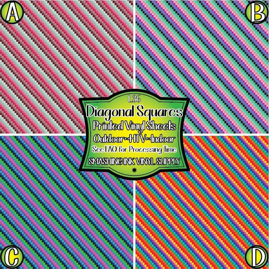 Diagonal Squares - Pattern Vinyl (SHIPS IN 3 BUS DAYS)