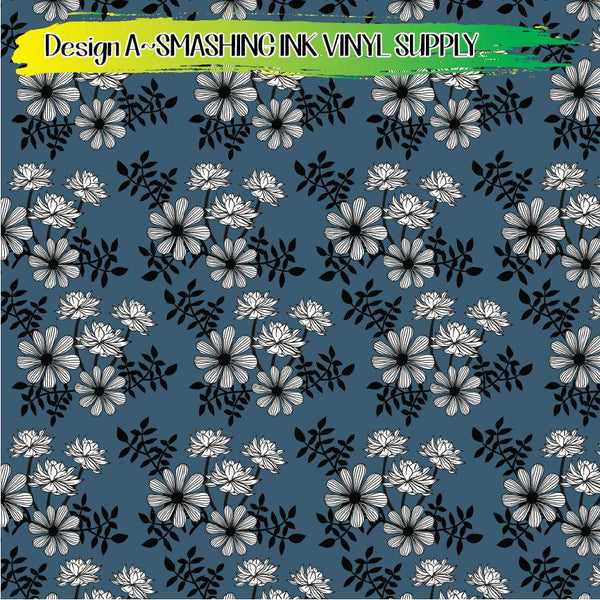 White Floral - Pattern Vinyl (READY IN 3 BUS DAYS)