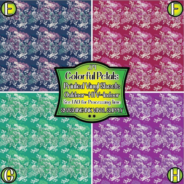 Colorful Petals - Pattern Vinyl (READY IN 3 BUS DAYS)