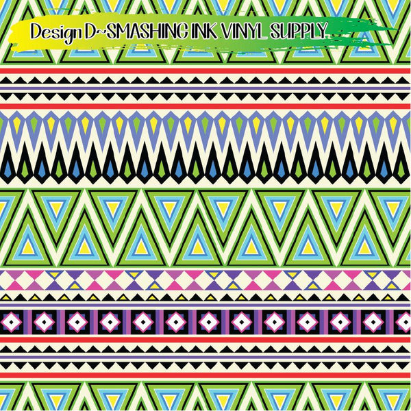Neon Aztec Pattern - Pattern Vinyl (SHIPS IN 3 BUS DAYS)