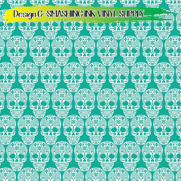 Aztec Sugar Skull - Pattern Vinyl (SHIPS IN 3 BUS DAYS)