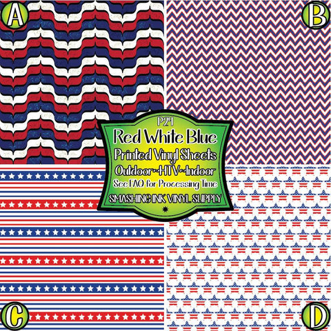 Patriotic Patterned - Vinyl Done Printed