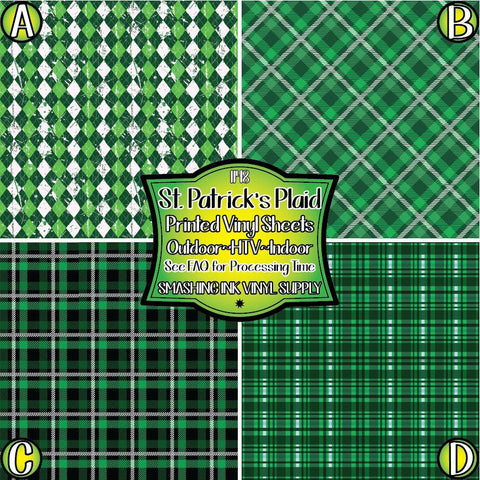 St. Patricks Day Plaid - Pattern Vinyl (SHIPS IN 3 BUS DAYS)