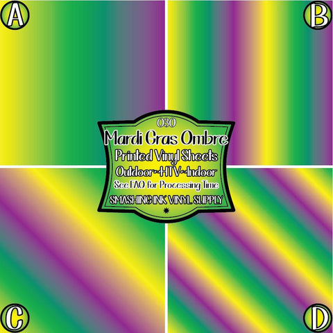 Mardi Gras Ombre - Patterned Vinyl Done Printed