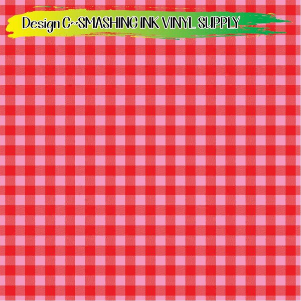 Pink Red Buffalo Plaid - Pattern Vinyl (SHIPS IN 3 BUS DAYS)