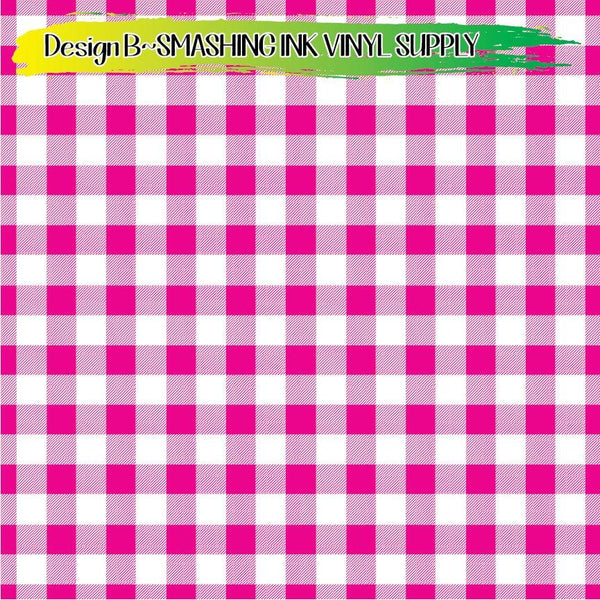 Pink White Gingham - Pattern Vinyl (READY IN 3 BUS DAYS)