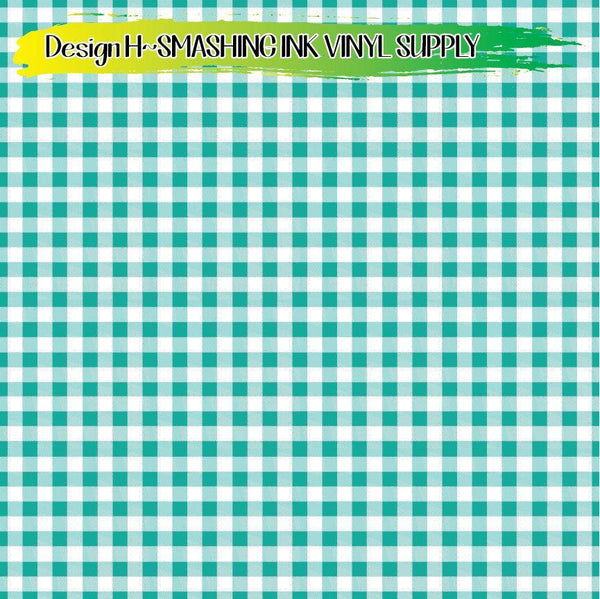 Teal Gingham - Pattern Vinyl (READY IN 3 BUS DAYS)