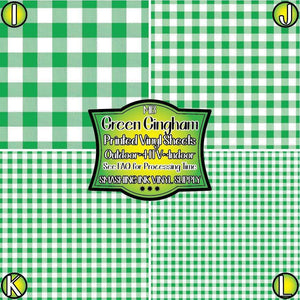 Green Gingham - Pattern Vinyl (READY IN 3 BUS DAYS)