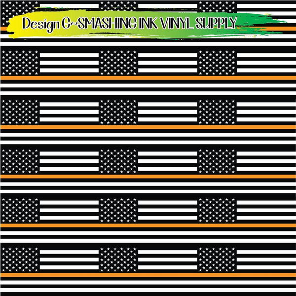 Orange Line Flag - Pattern Vinyl (SHIPS IN 3 BUS DAYS)
