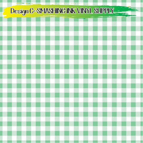 Mint Gingham - Pattern Vinyl (SHIPS IN 3 BUS DAYS)