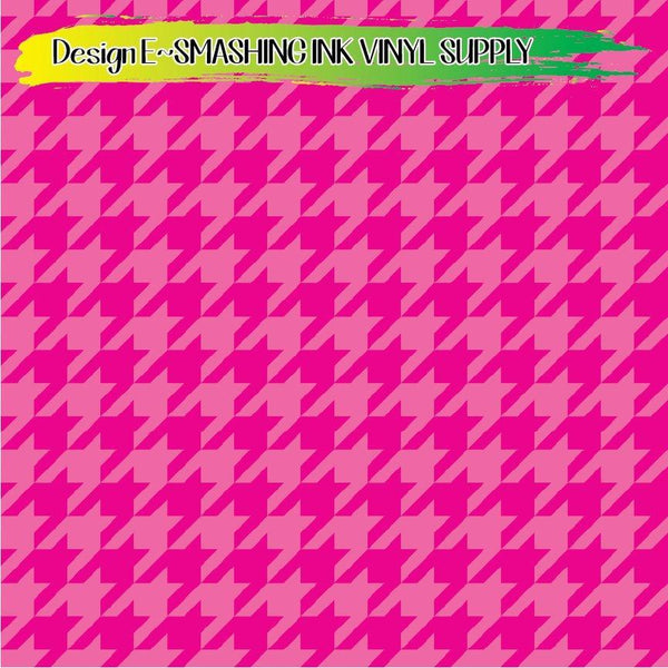 Pink Houndstooth - Pattern Vinyl (READY IN 3 BUS DAYS)