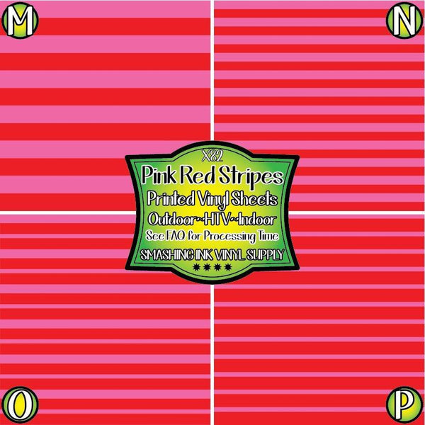 Pink Red Stripes - Pattern Vinyl (SHIPS IN 3 BUS DAYS)