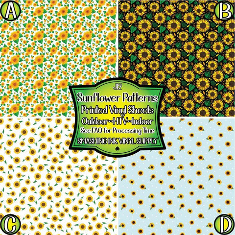 Sunflower Pattern - Patterned Vinyl Done Printed