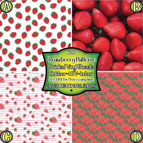 Strawberry Pattern - Pattern Vinyl (SHIPS IN 3 BUS DAYS)
