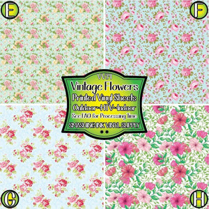 Vintage Flowers - Pattern Vinyl (READY IN 3 BUS DAYS)