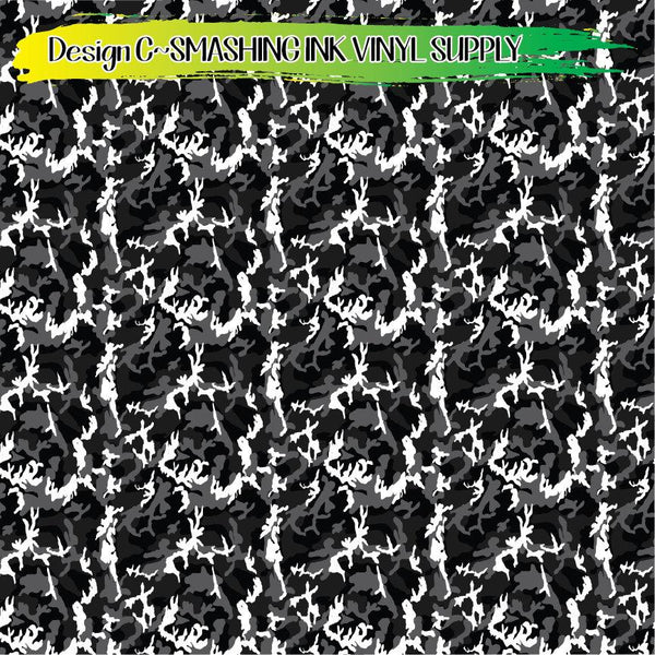 Black White Camo - Pattern Vinyl (SHIPS IN 3 BUS DAYS)
