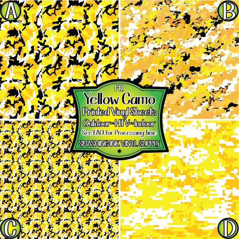 Yellow Camo - Patterned Vinyl Done Printed