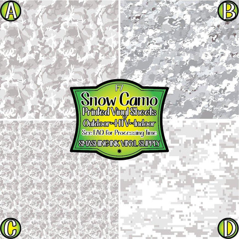 Snow Camo - Pattern Vinyl (SHIPS IN 3 BUS DAYS)
