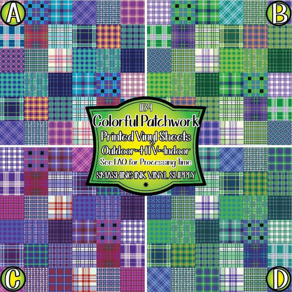 Coloful Patchwork - Pattern Vinyl (SHIPS IN 3 BUS DAYS)