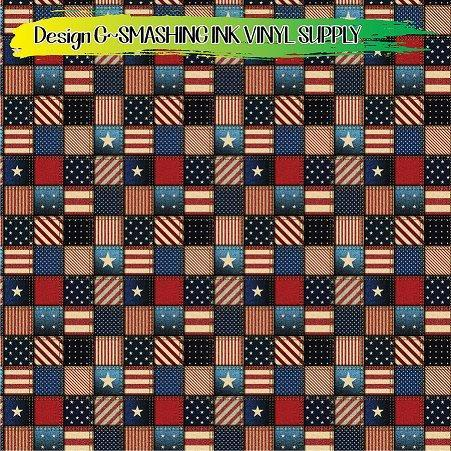 Patriotic Patchwork - Pattern Vinyl (READY IN 3 BUS DAYS)