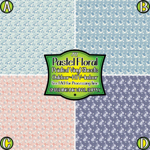 Floral Pastel Pattern - Pattern Vinyl (SHIPS IN 3 BUS DAYS)