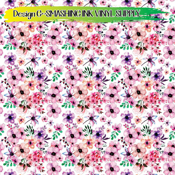 Watercolor Flowers - Pattern Vinyl (READY IN 3 BUS DAYS)