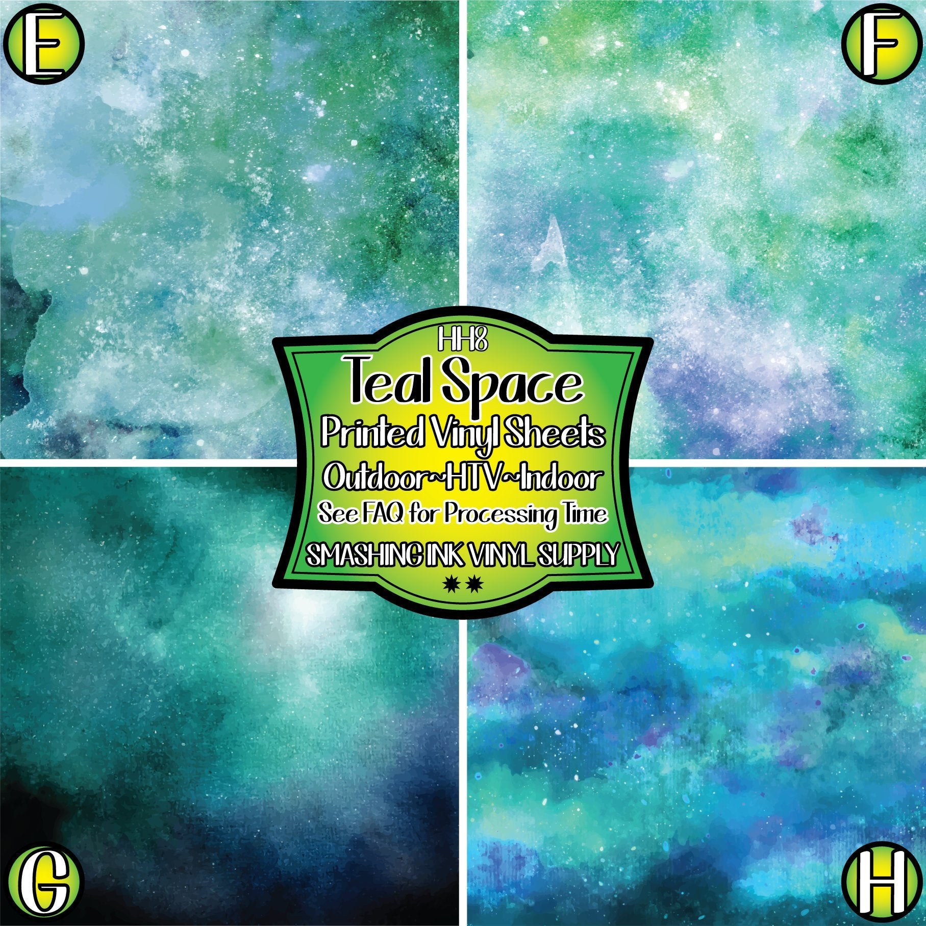 Teal Galaxy Space - Pattern Vinyl (READY IN 3 BUS DAYS)