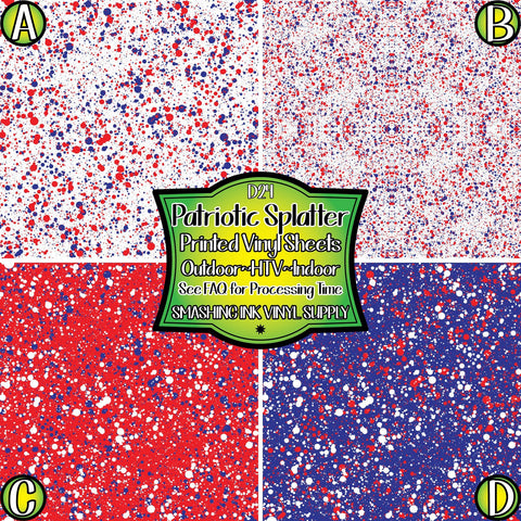 Patriotic Splatter - Patterned Vinyl Done Printed