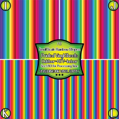 Small Rainbow Stripes - Patterned Vinyl Done Printed