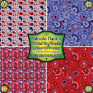 Patriotic Paisley Floral - Pattern Vinyl (MTO-3 BUS DAYS)