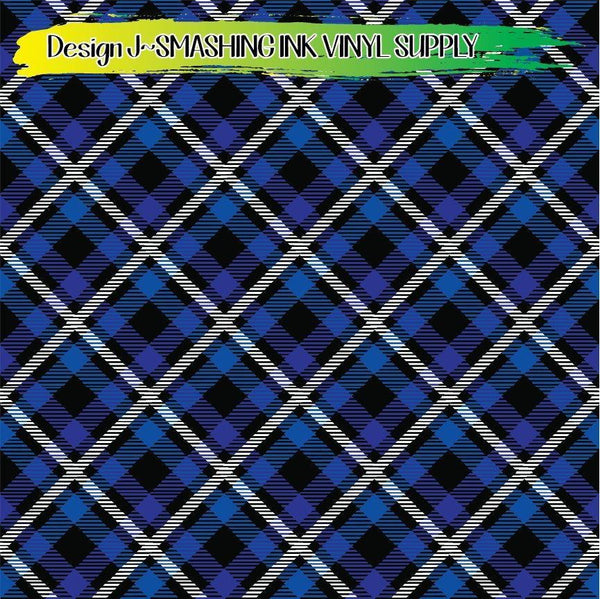 Blue Black White Plaid - Pattern Vinyl (READY IN 3 BUS DAYS)