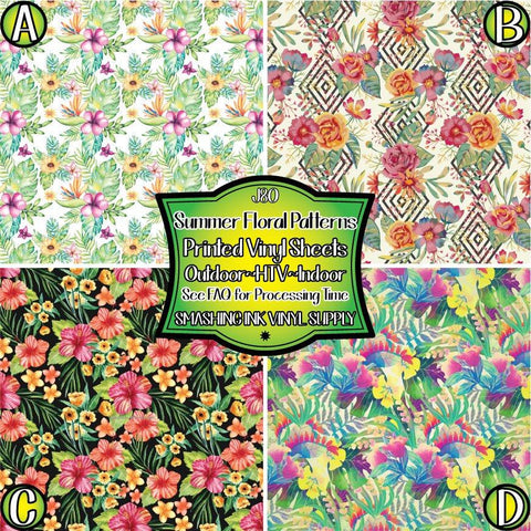 Summer Tropical Floral - Pattern Vinyl (SHIPS IN 3 BUS DAYS)