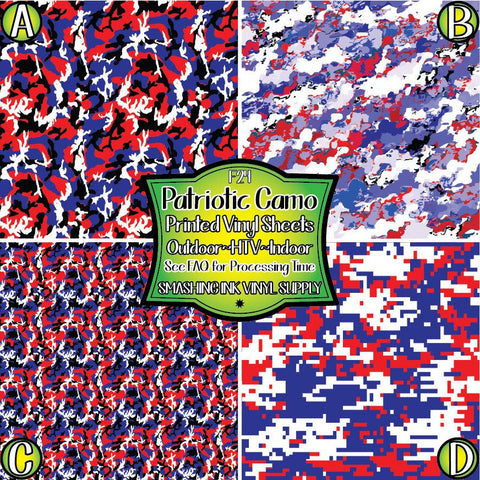 Patriotic Camo - Pattern Vinyl (SHIPS IN 3 BUS DAYS)